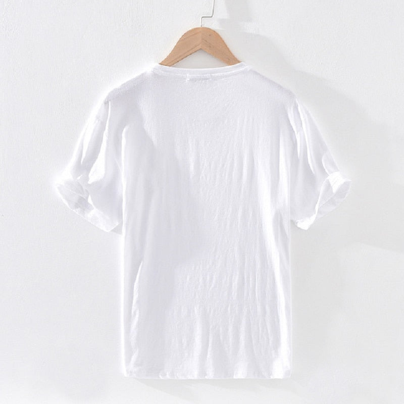 Cotton Linen Embroidery O-neck T-shirt