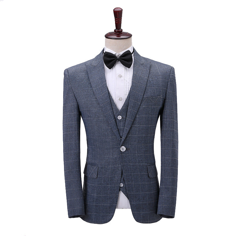 Three-Piece Plaid Linen Suit