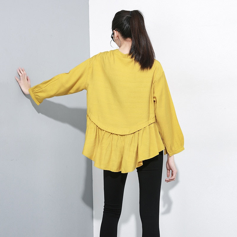 Spliced Pleated Asymmetric Blouse