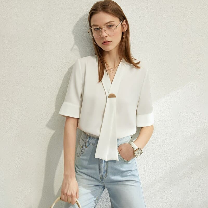 Esi5SojRnf3yF6cABT Causal Short Sleeve Blouse