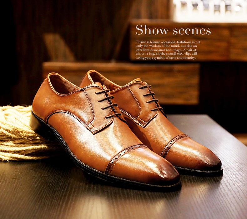 Genuine Leather Lace-up Retro Shoes