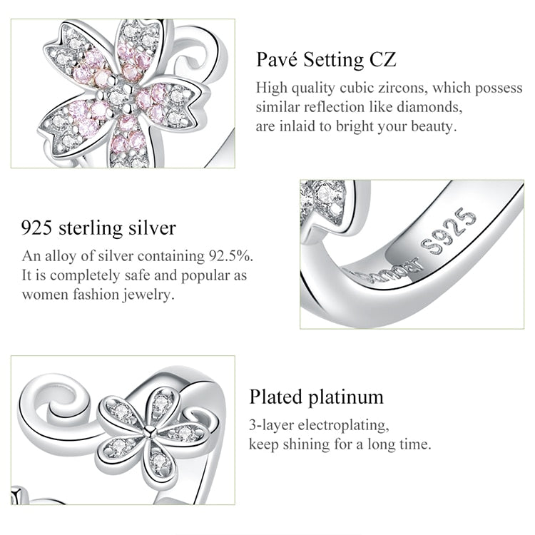 Sterling Silver Cherry Flower Open Adjustable Ring
