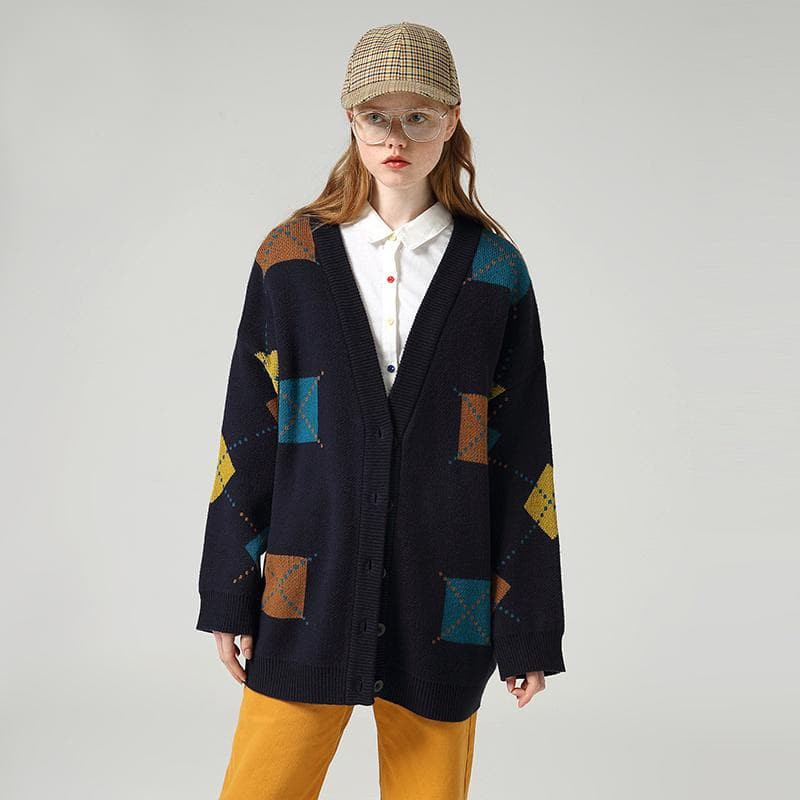 Hit Color Long Sleeve Cardigan