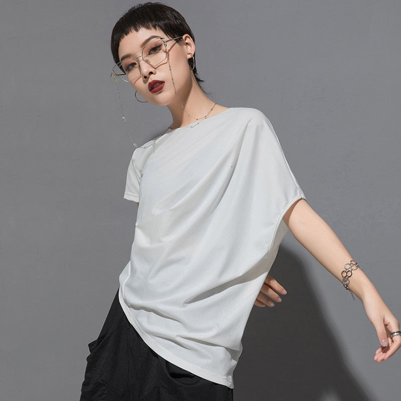 Round Neck Short Sleeve Irregular Fold T-shirt
