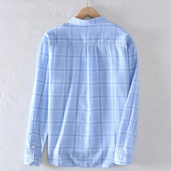 100% Cotton Plaid Long Sleeved Casual Shirt