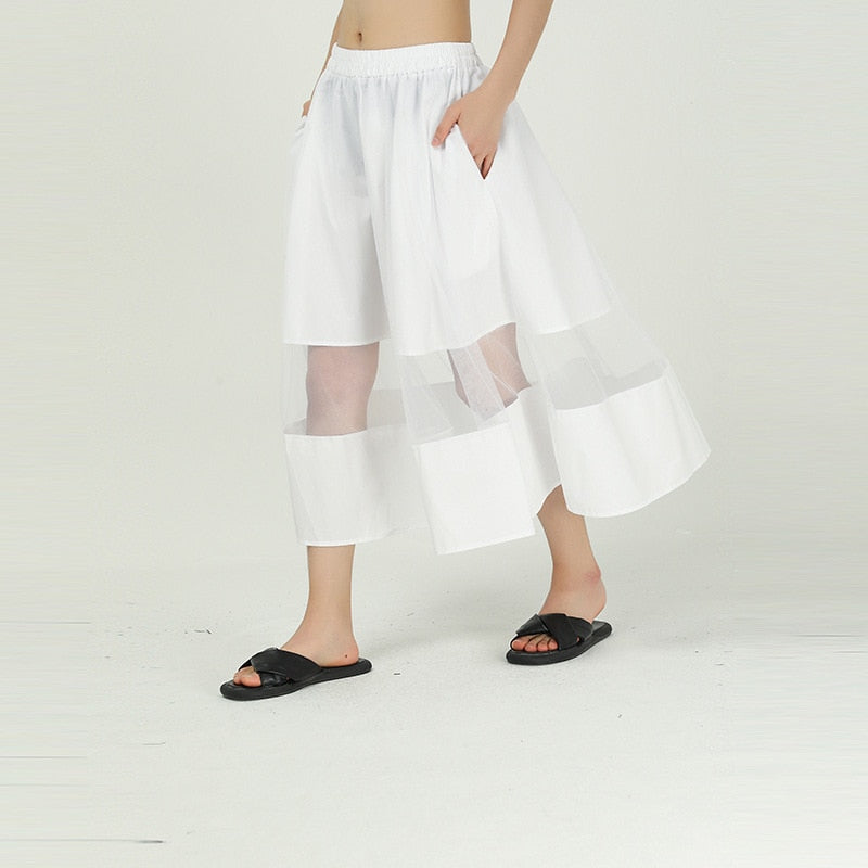 Trendy High Elastic Waist Mesh Split Joint Skirt