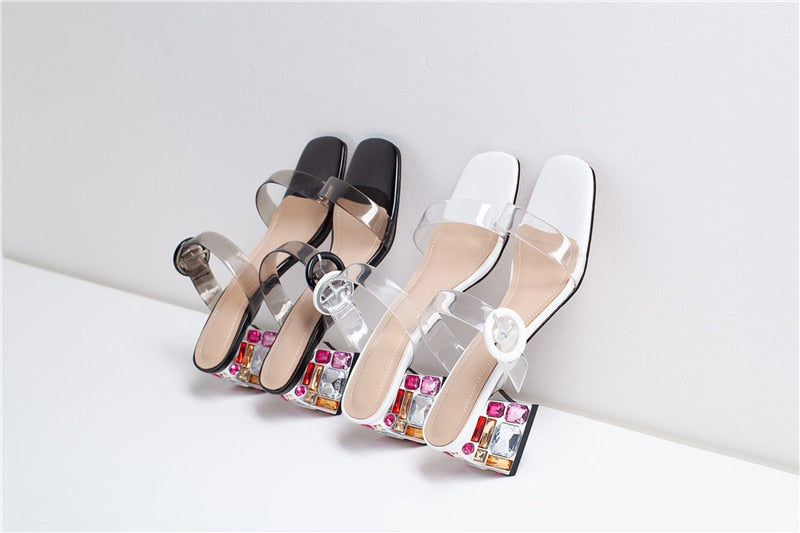 Rhinestone Heel Party Sandals