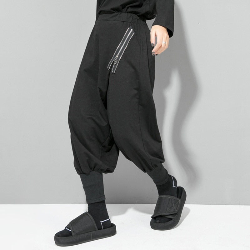 High Waist Zipper Split Joint Harem Pants