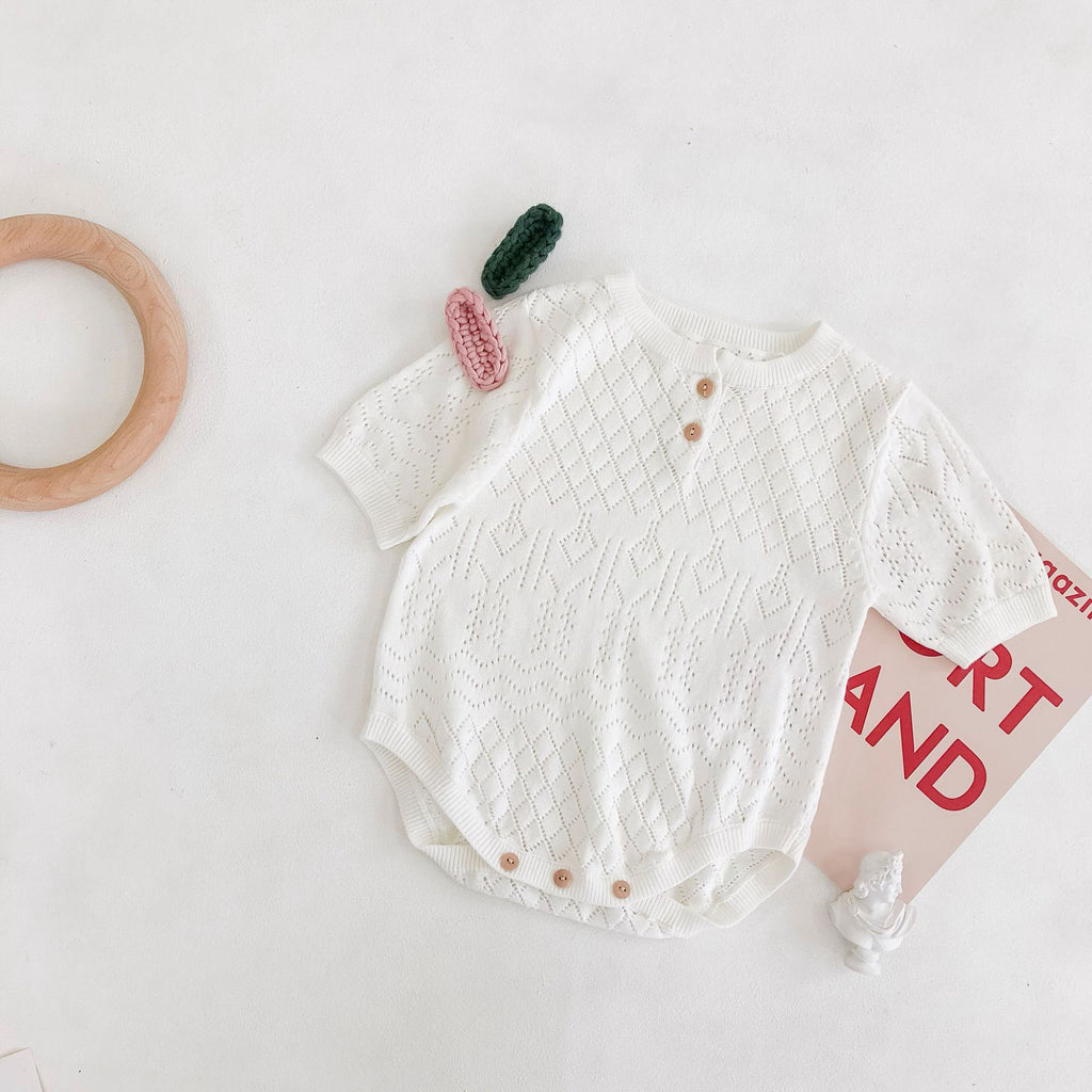 Cute Short-Sleeved Baby Bodysuit