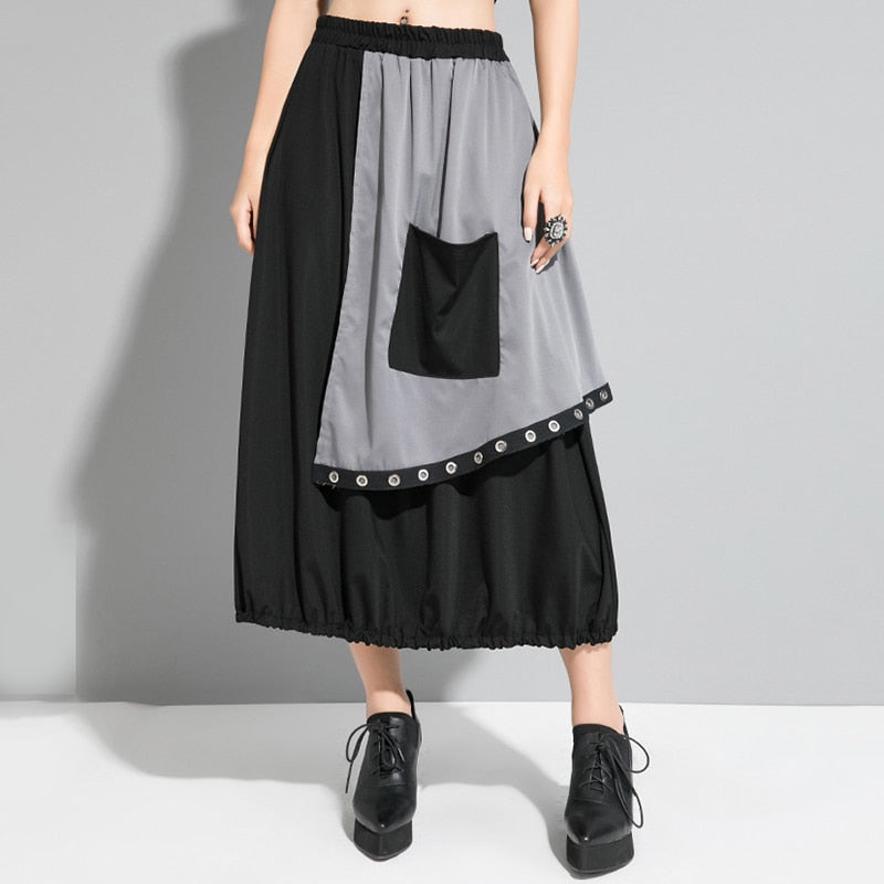 High Elastic Waist Contrast Color Skirt