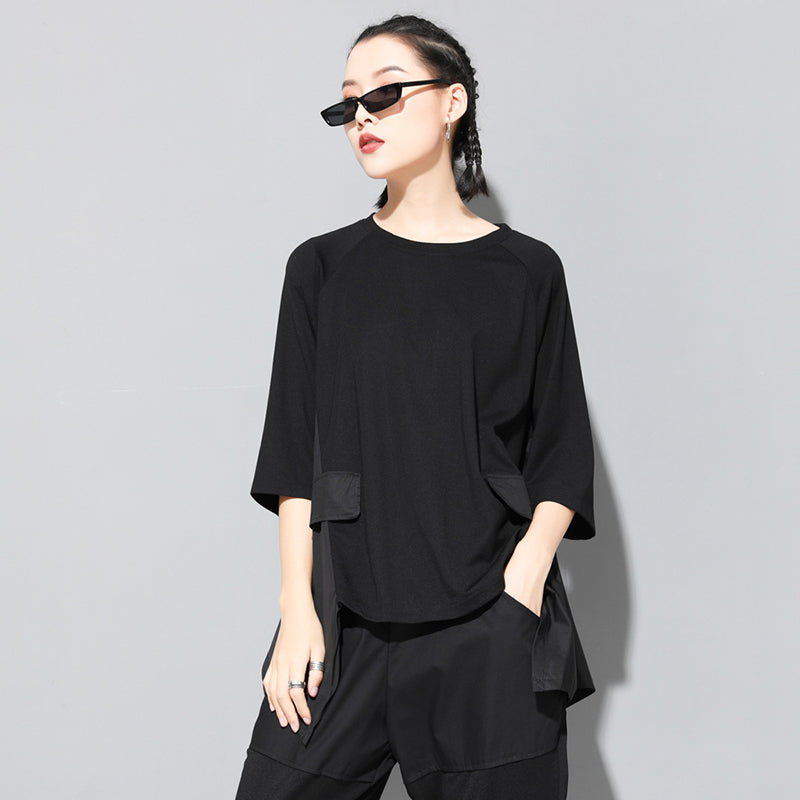Trendy Round Neck Three Quarter Sleeve T-shirt