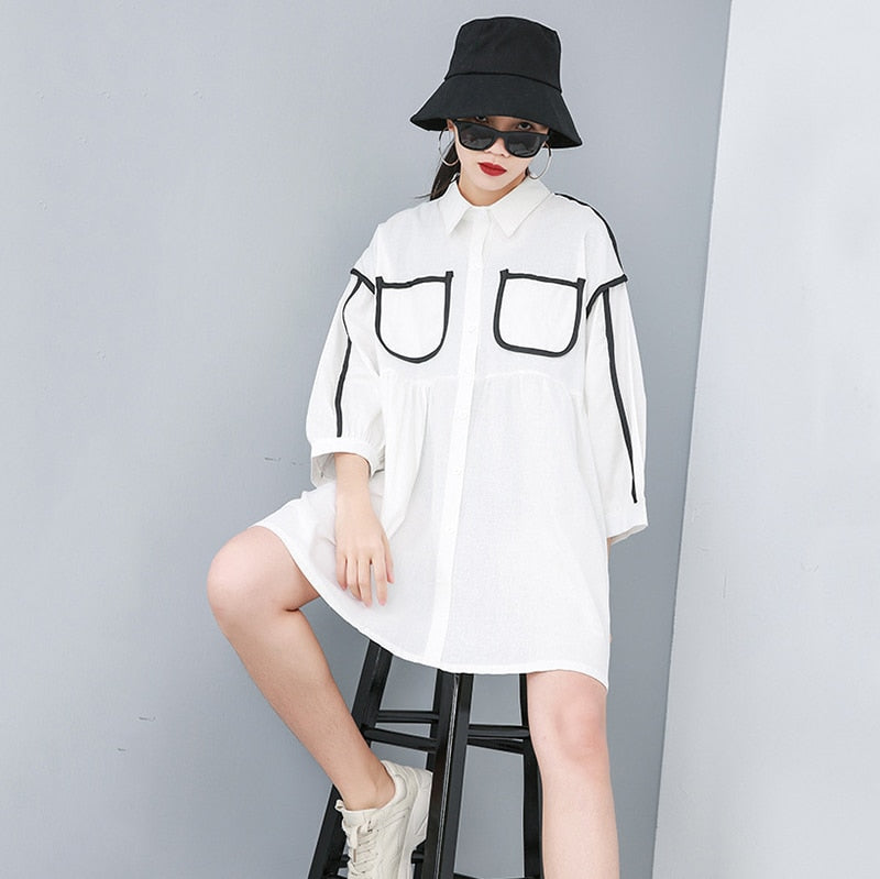 Long Sleeve Split Joint Big Size Shirt Dress