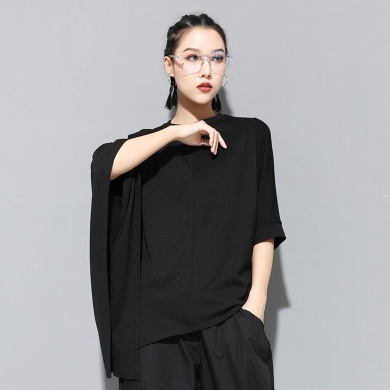Round Neck Half Batwing Sleeve Hollow Out T-shirt