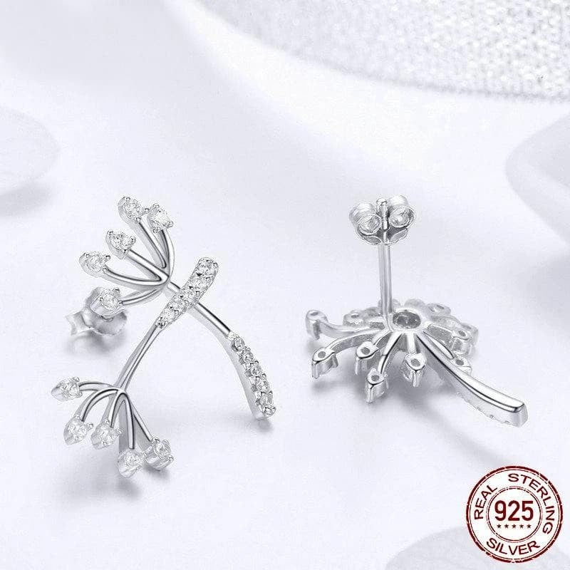 Genuine Sterling Silver Exquisite Stud Earrings