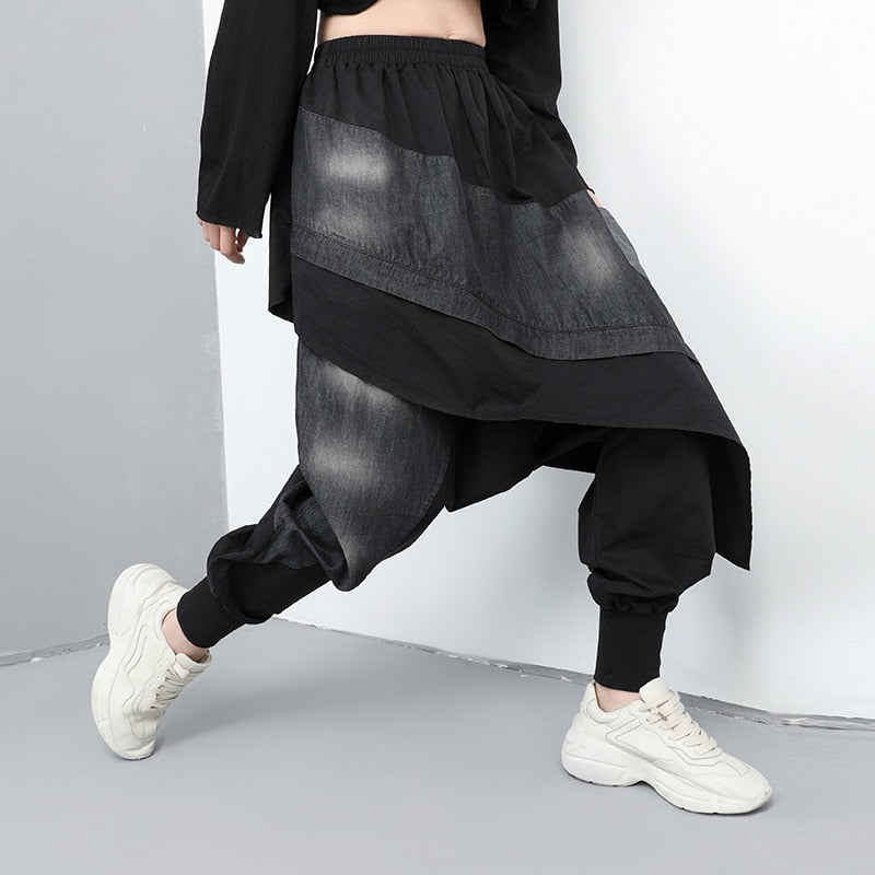 High Elastic Waist Denim Split Joint Harem Pants