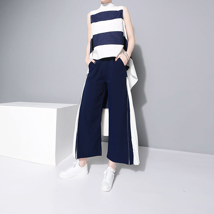 High Waist Pleated Split Joint Wide Leg Pants