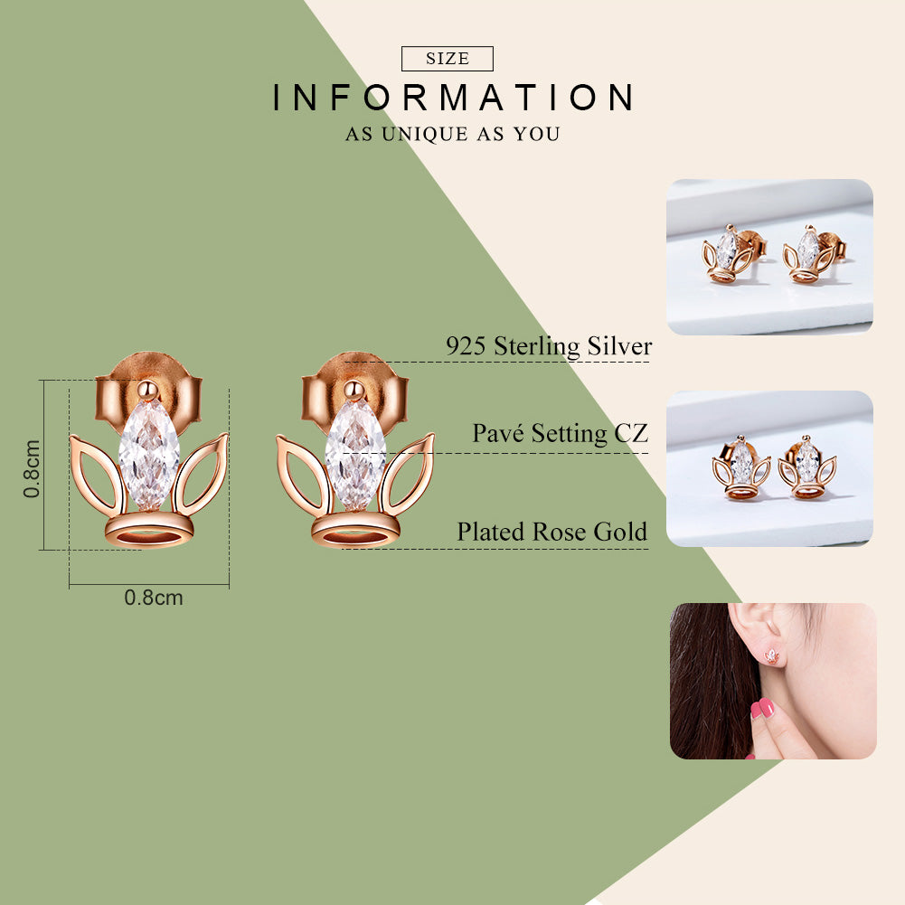 Rose Gold Pated Sterling Silver Stud Earrings