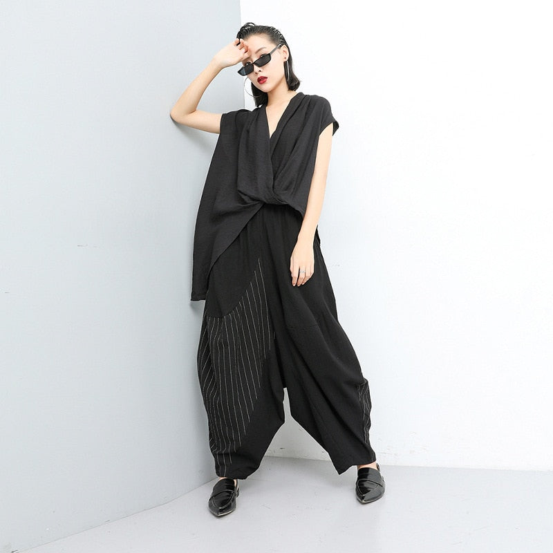 High Elastic Waist Striped Wide Leg Pants