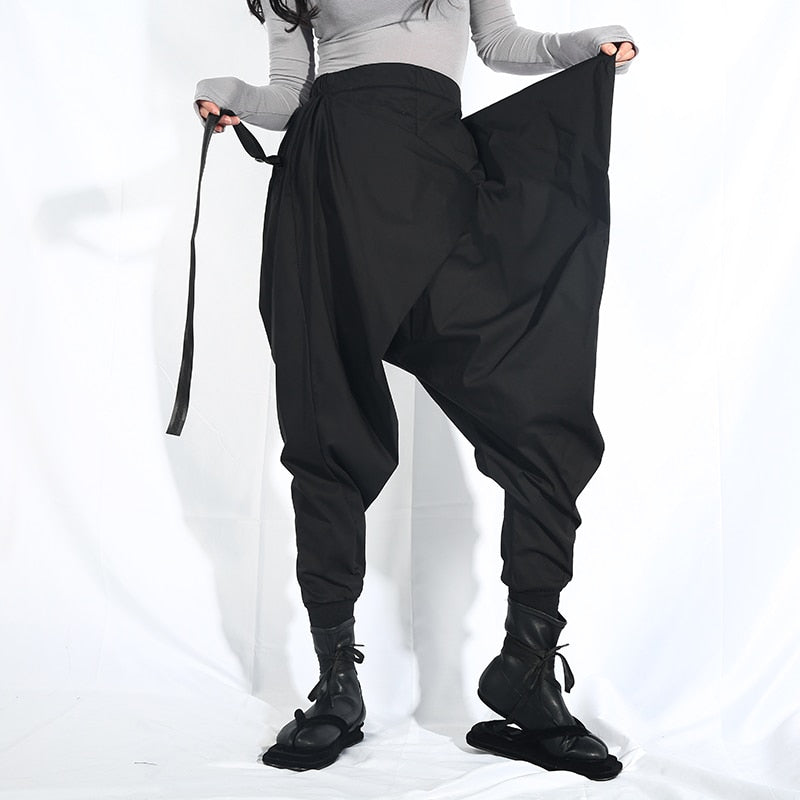 High Elastic Waist Split Joint Harem Pants