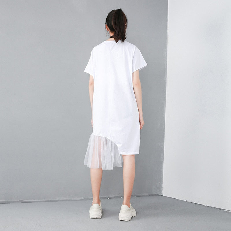 Round Neck Short Sleeve Casual Mesh Stitch Dress