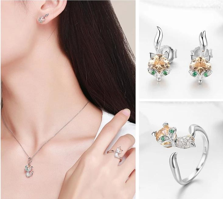 Sterling Silver Crystal Fox Jewelry Set
