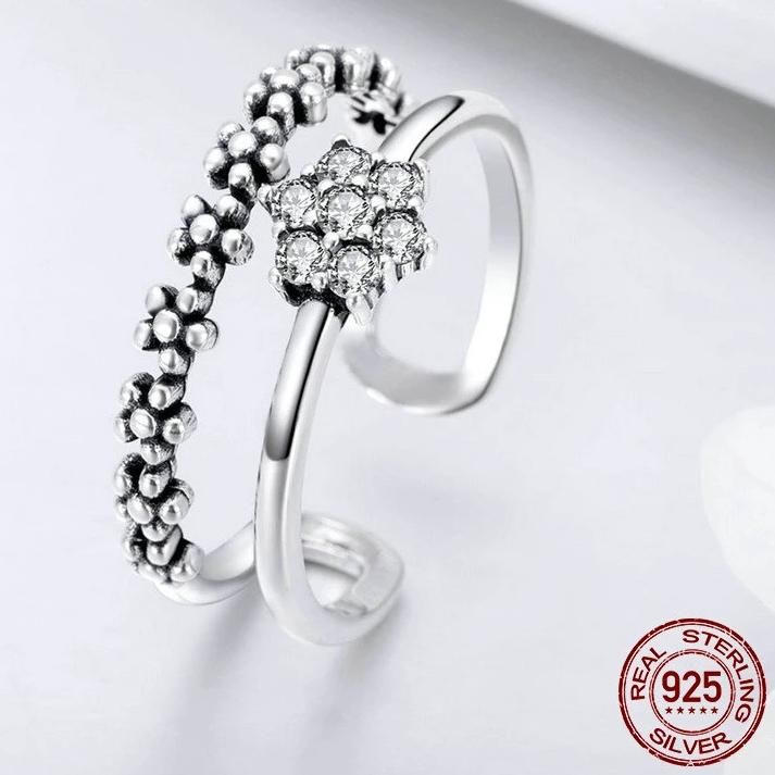 Genuine Sterling Silver Elegant Adjustable Ring