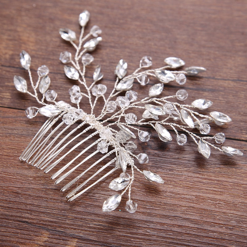Shiny Silver Crystal Hair Comb