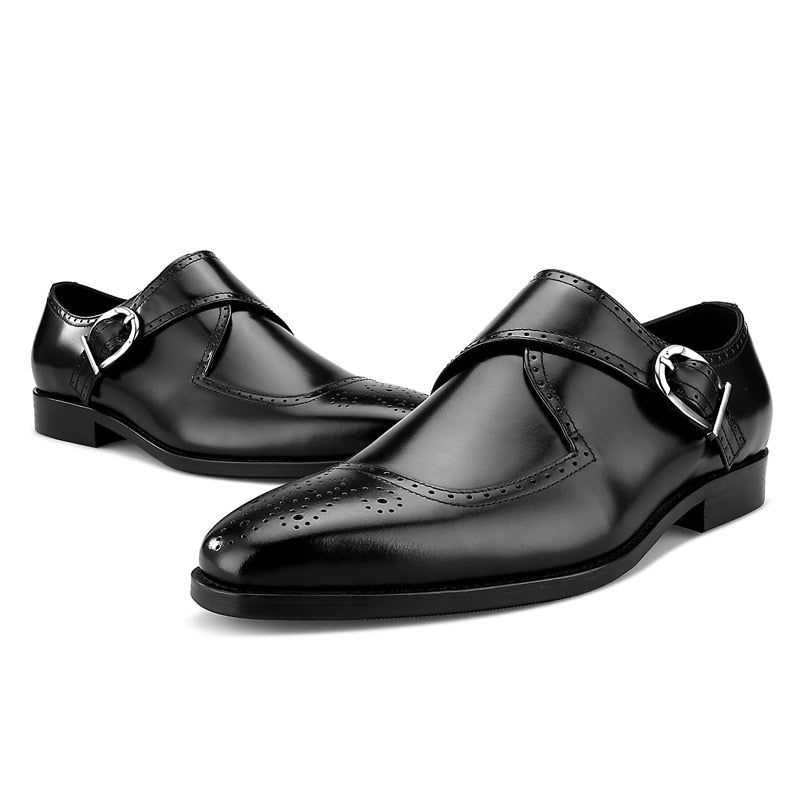 Genuine Leather Buckle Shoes