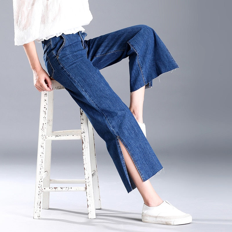 Wide Leg High Waist Denim Jeans