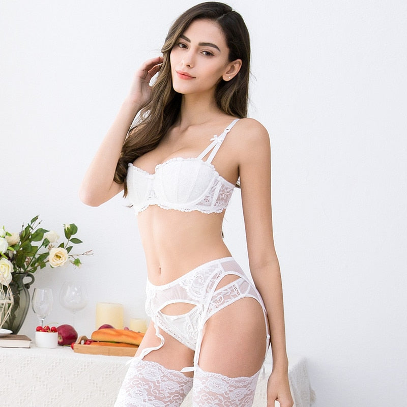 4Pcs Lingerie Set With Bra, Panties, Garter & Stockings