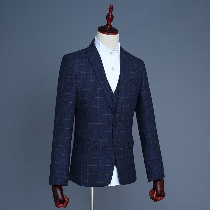 Three-Piece Classic Plaid Suit