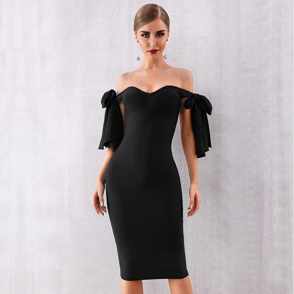 Off Shoulder Slash Neck Celebrity Dress
