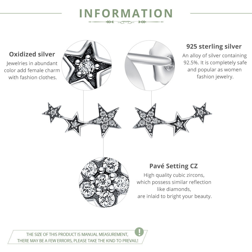 Authentic Sterling Silver CZ Exquisite Star Stud Earrings