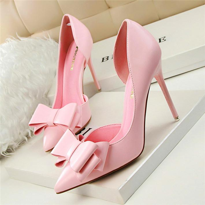 Bowtie Pointed Toe High Heel Pumps