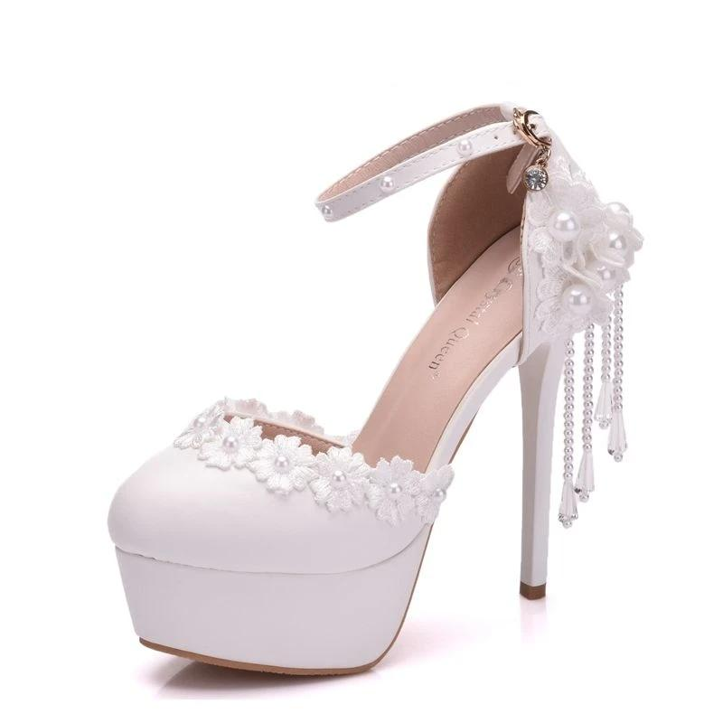 Crystal Tassel Lace Handmade Bridal Pumps