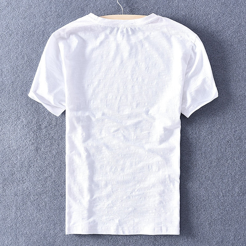 Premium Cotton Linen O-neck T-shirt