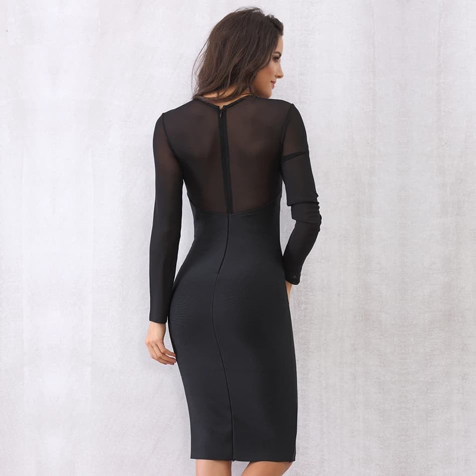 O-Neck Long Sleeve Party Dress