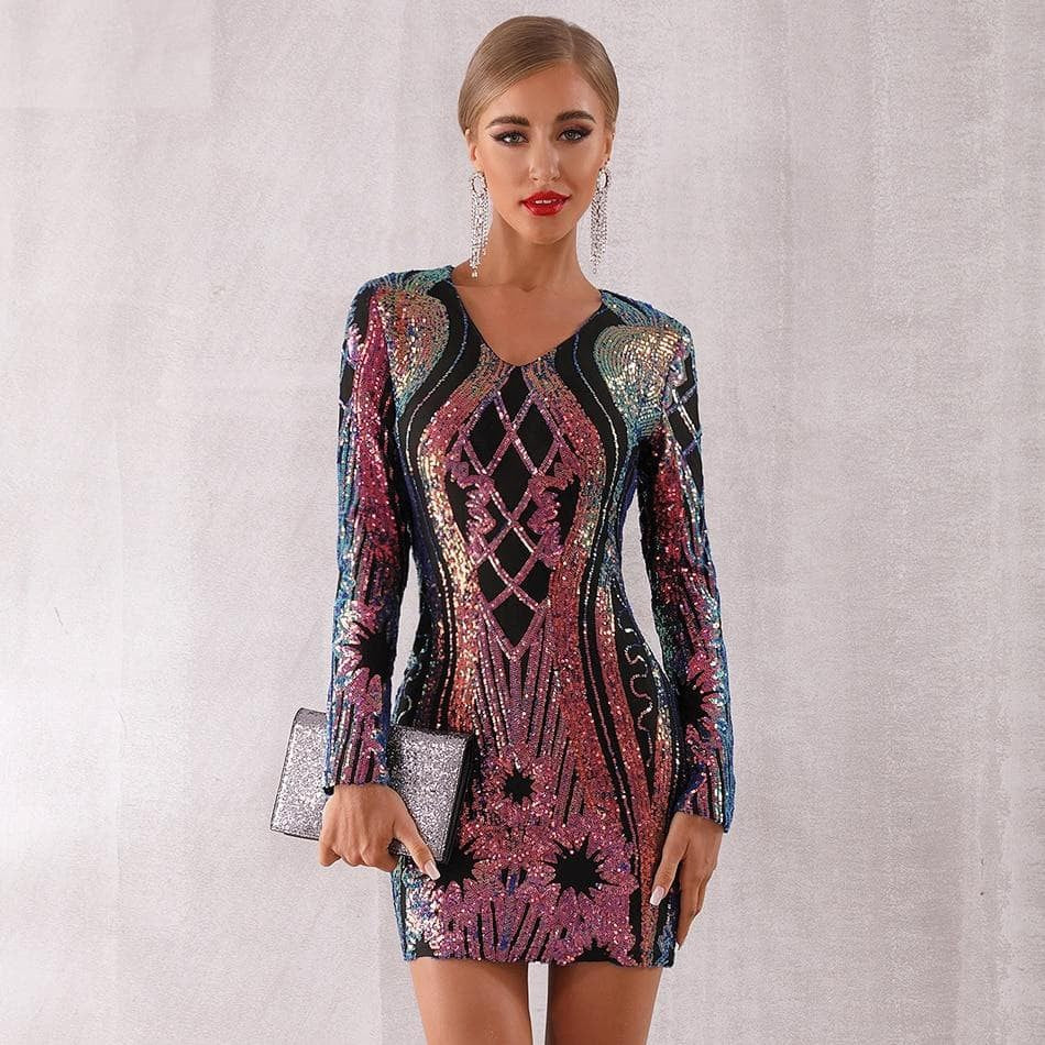 Sequined Celebrity Evening Runway Mini Club Dress