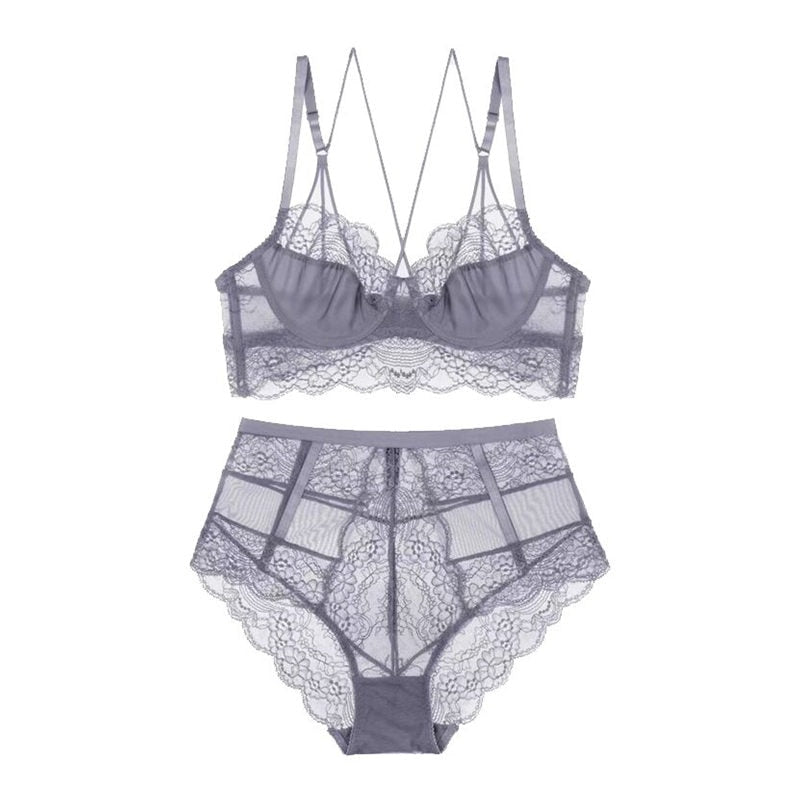 Y-lined Underwire Lace 3/4 Cup Bra and Panty Set