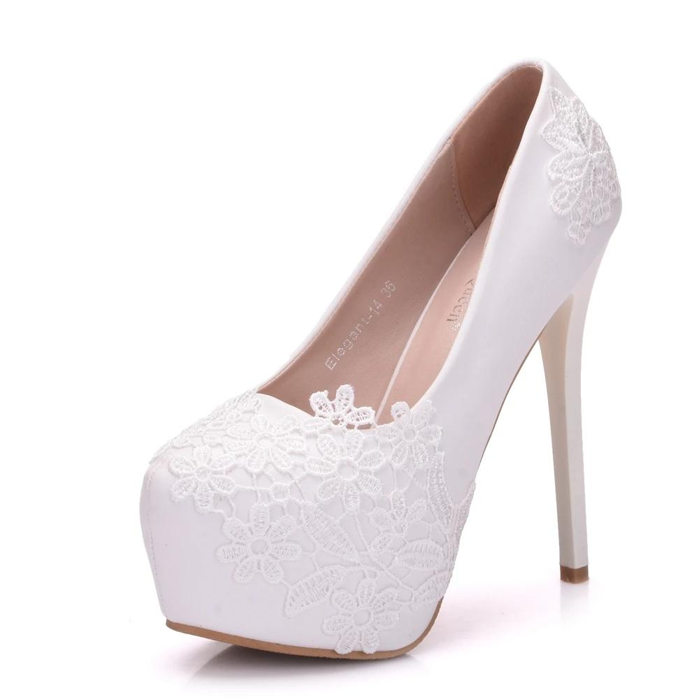 Beautiful Lace Flower High Heel Pumps