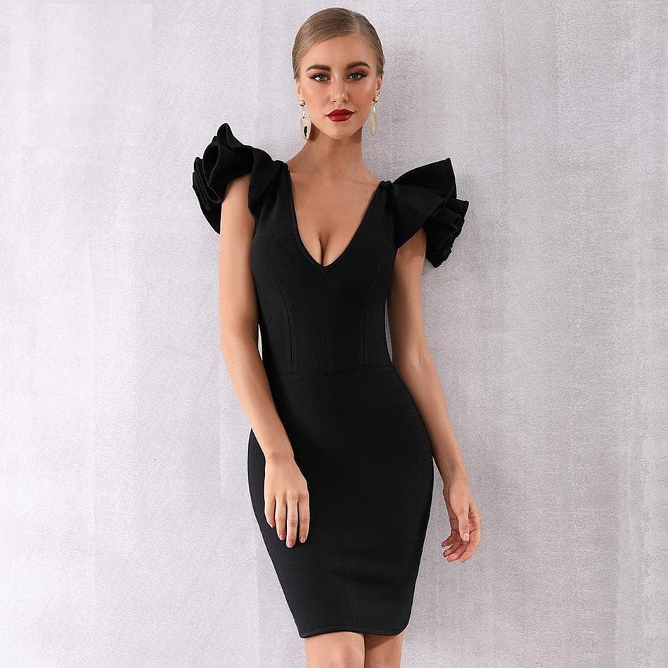Ruffles Butterfly Sleeve Bodycon Dress
