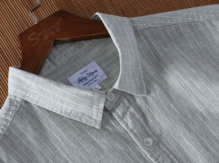 Cotton Linen Striped Slim Fit Short Sleeve Shirt
