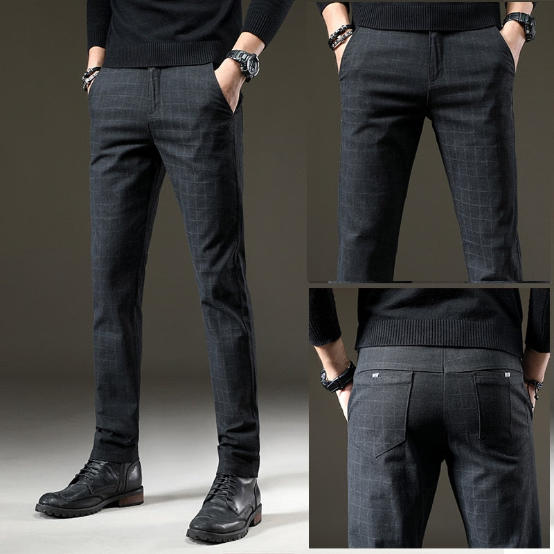 Plaid Straight Fit Smart Casual Pants