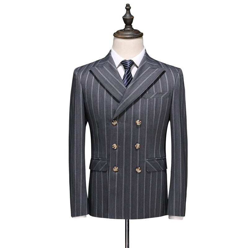 Three-Piece Striped Slim Fit Suit