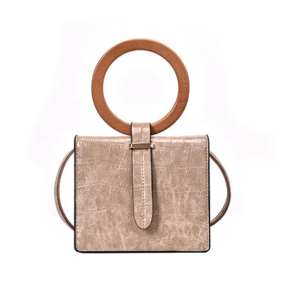 Stone Pattern With Wood Round Handle Shoulder Bag