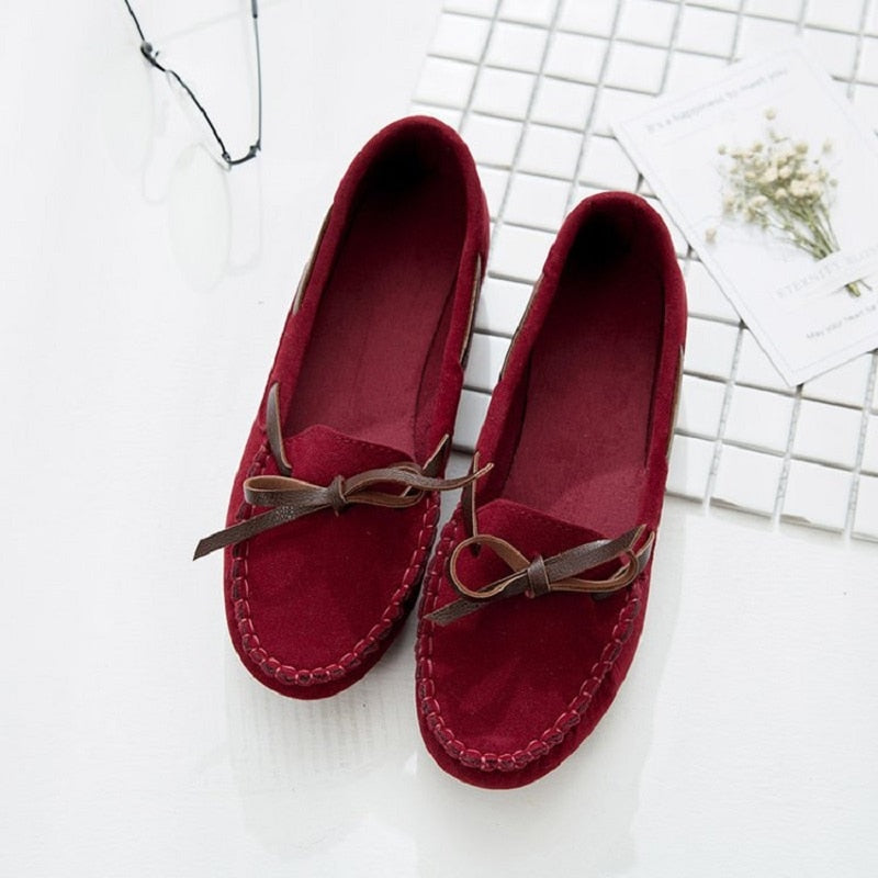 Butterfly-knot Flock Casual Loafers