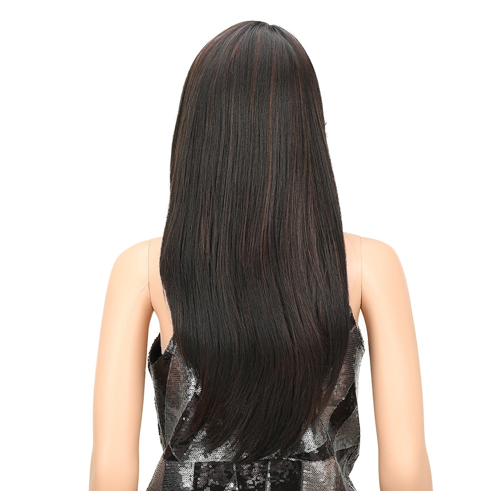 "24"" Long Straight Synthetic Wig"