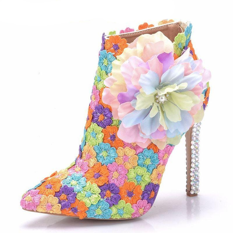 Trendy Lace Rhinestone High Heel Ankle Boots