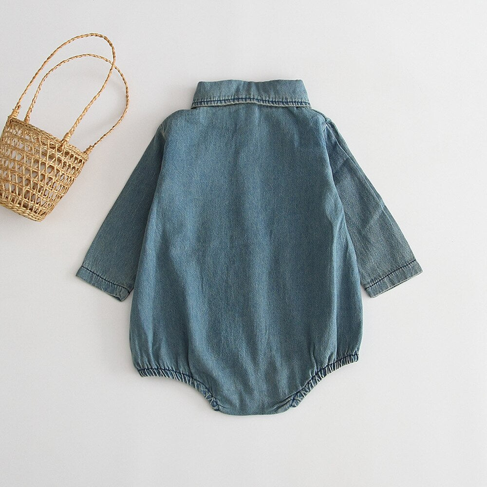 Smart Long-sleeved Denim Bodysuit