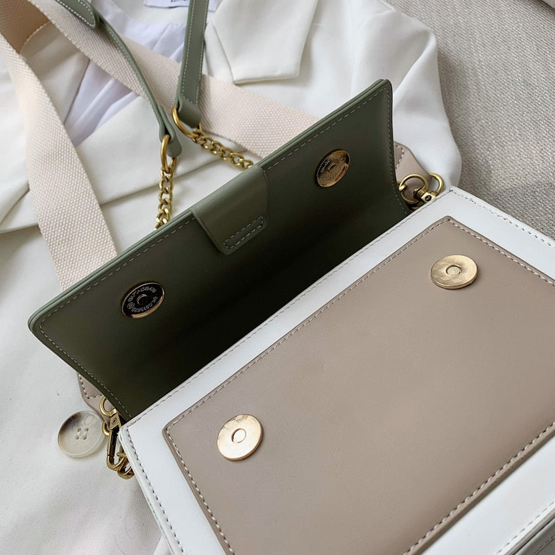 Contrast Color Crossbody Shoulder Bag